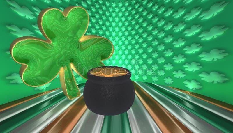 Un trébol con una mina de oro Símbolos para el día de Patricks del santo aislado contra una bandera de Irlanda foto de archivo libre de regalías