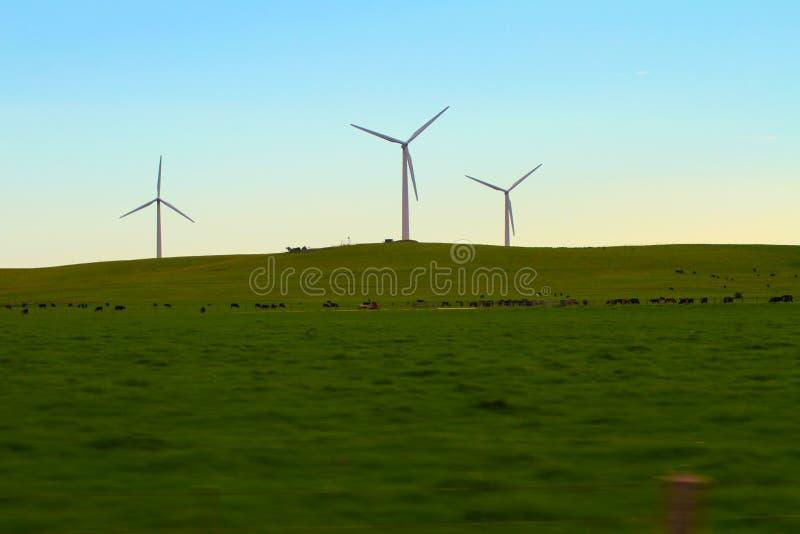 Un trío de las siluetas de la turbina de viento en el amanecer foto de archivo libre de regalías