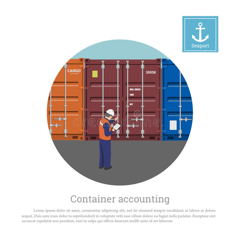 Un trabajador del puerto cerca del envase Cargo que controla del ingeniero del ` s del puerto stock de ilustración