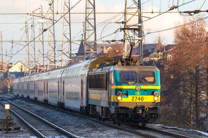 Un train belge ? Bruxelles Belgique image stock