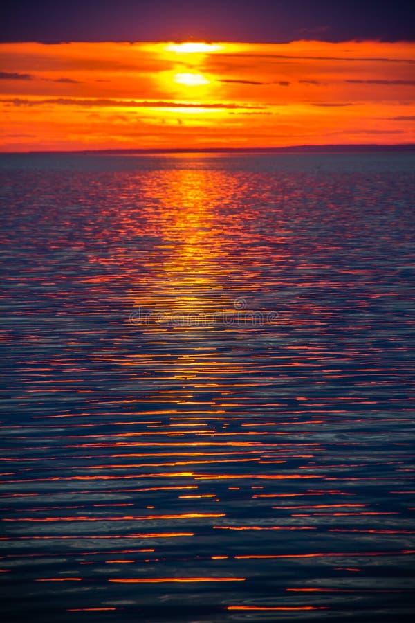 Un tramonto luminoso sul golfo di Finlandia Tramonto al mare Tramonto sul golfo Luce di sera, estate calda, cielo cremisi e picco immagine stock