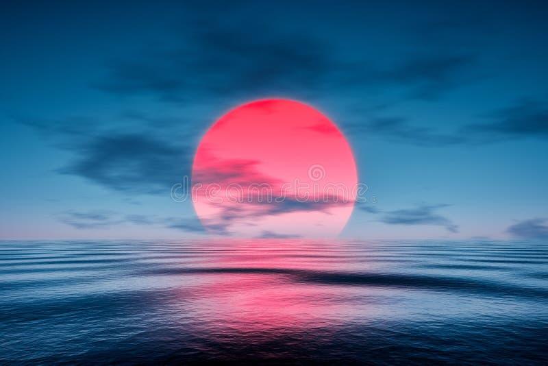 Un tramonto rosso sopra il mare blu illustrazione di stock