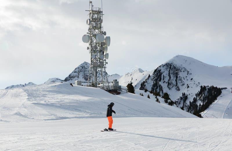 Un transmisor en la cima de una montaña en el área del esquí de las dolomías Cuesta vacía del esquí en invierno en un día soleado foto de archivo libre de regalías