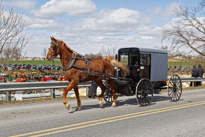 Un trasporto di Amish nella contea di Lancaster, Pensilvania fotografia stock