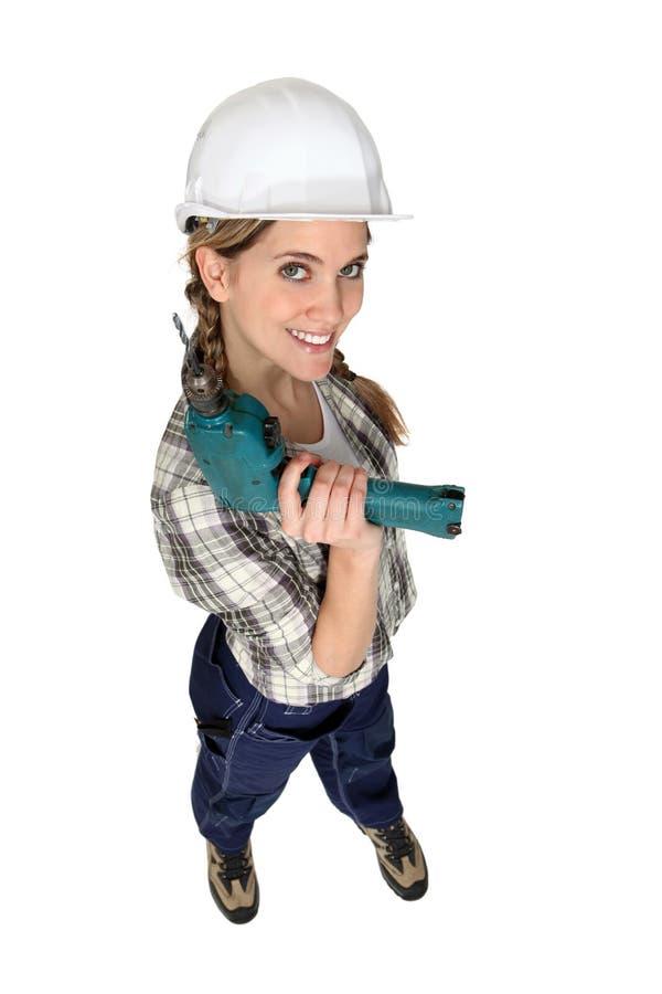 Un travailleur de la construction féminin images stock