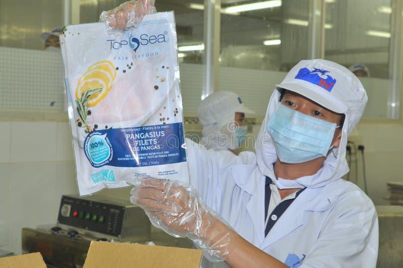 Un travailleur montre un produit des pêches certifié de pangasius dans une installation de transformation de fruits de mer en Tie photos libres de droits