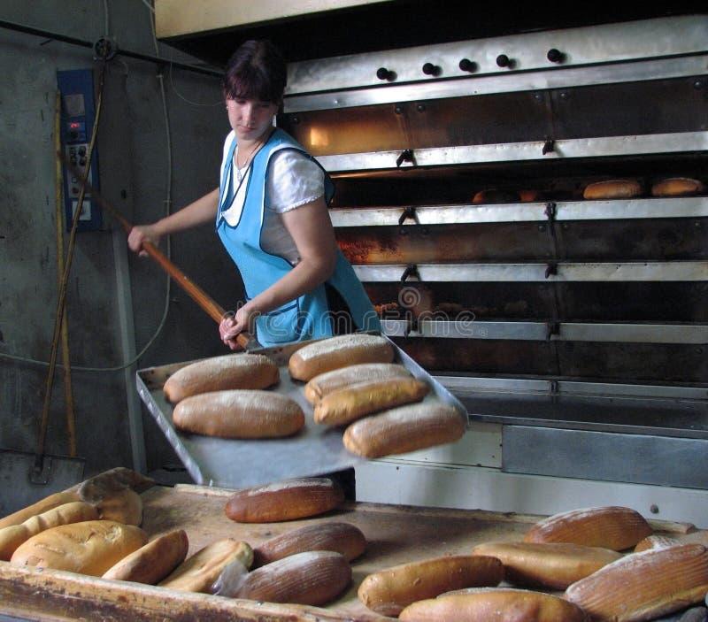 Un travailleur prend le pain hors du four photographie stock