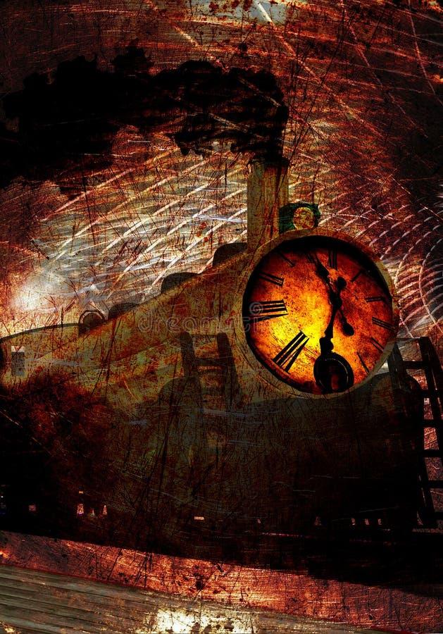 Un tren locomotor extraño con vapor y el motor delantero del reloj se oponen stock de ilustración