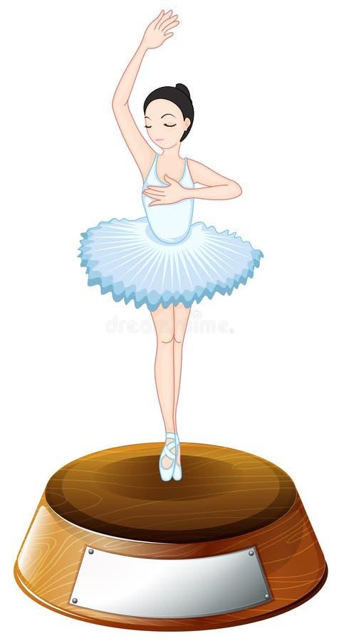 Un trofeo del ballerino di balletto con un modello vuoto illustrazione di stock