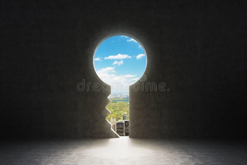 Un trou de la serrure dans le mur en béton image stock