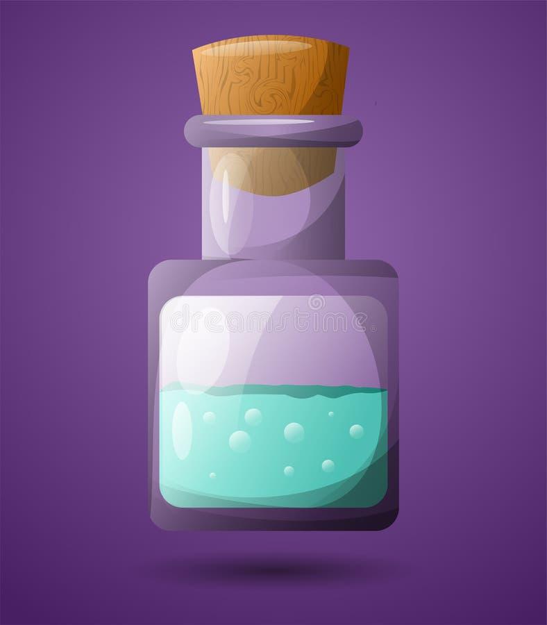 Un tube à essai avec un liquide vert Pour la conception dans les jeux Poison à grande vitesse illustration stock