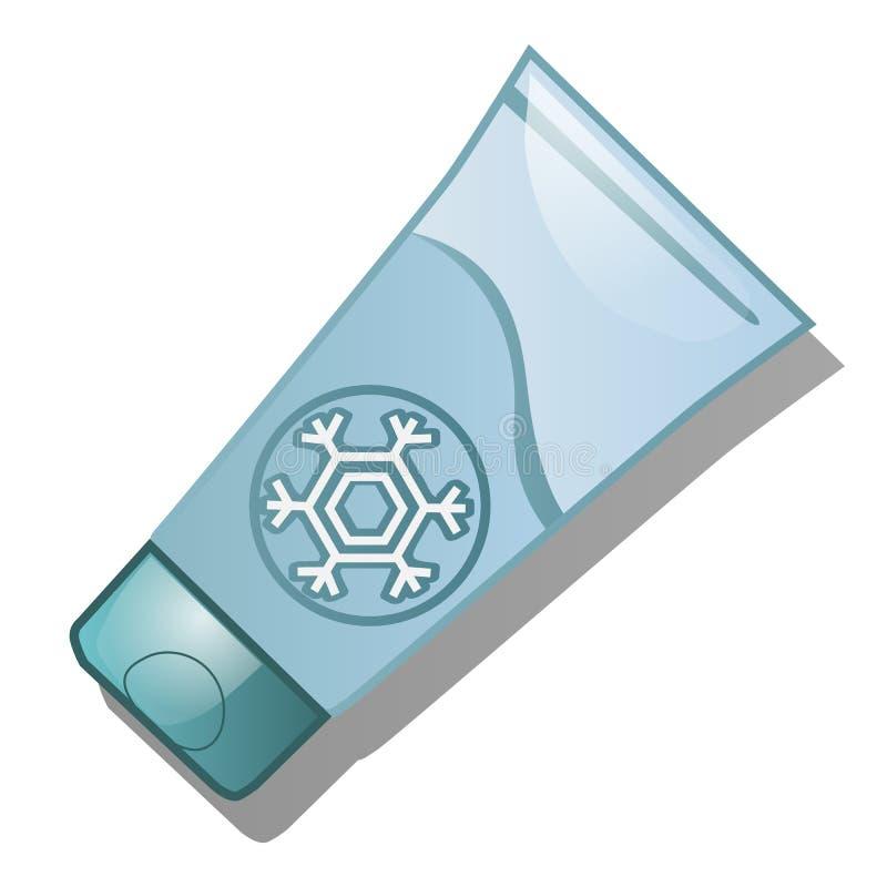 Un tube de la crème protectrice du froid d'isolement sur le fond blanc Illustration de plan rapproché de bande dessinée de vecteu illustration stock