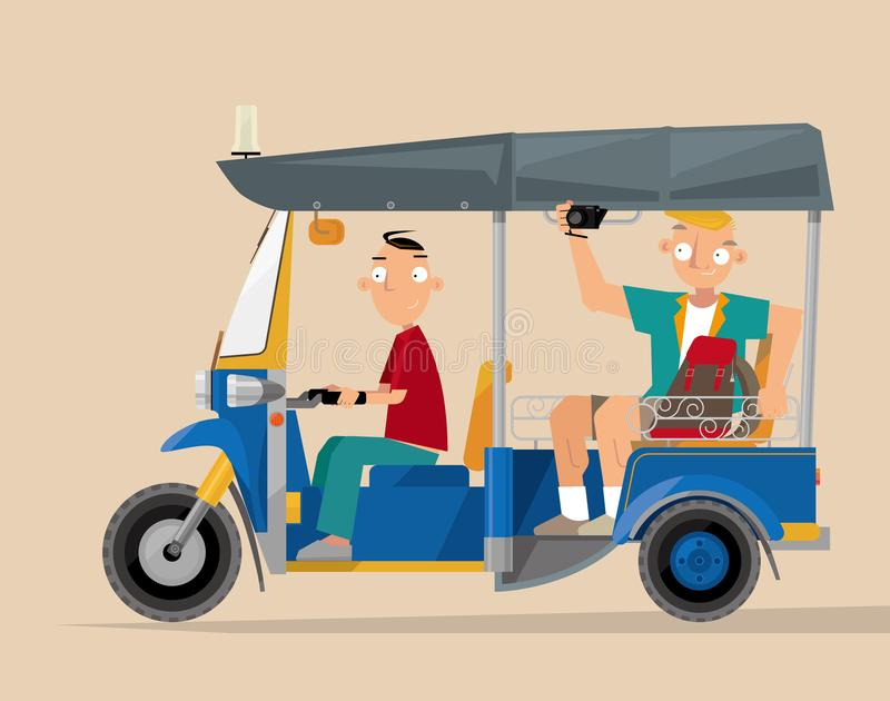 Un tuk-tuk de touristes de taxi de pousse-pousse automatique en Thaïlande illustration de vecteur
