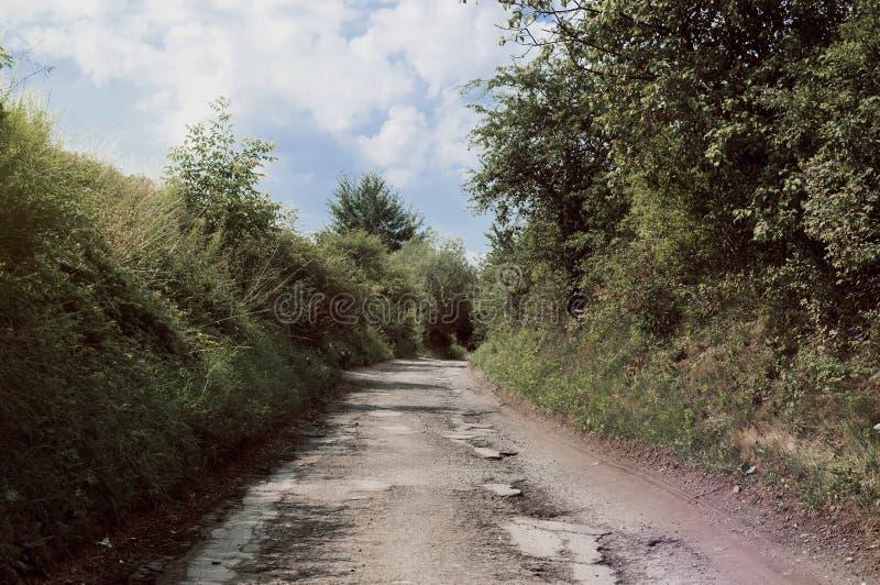Un tunnel naturel sur la voie de village image libre de droits
