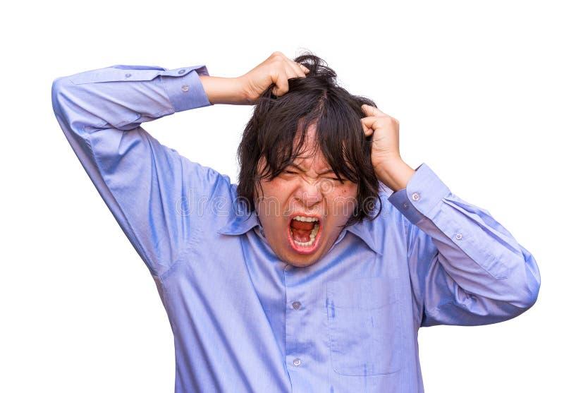 Un type asiatique de bureau soumet à une contrainte à sa limite. image stock
