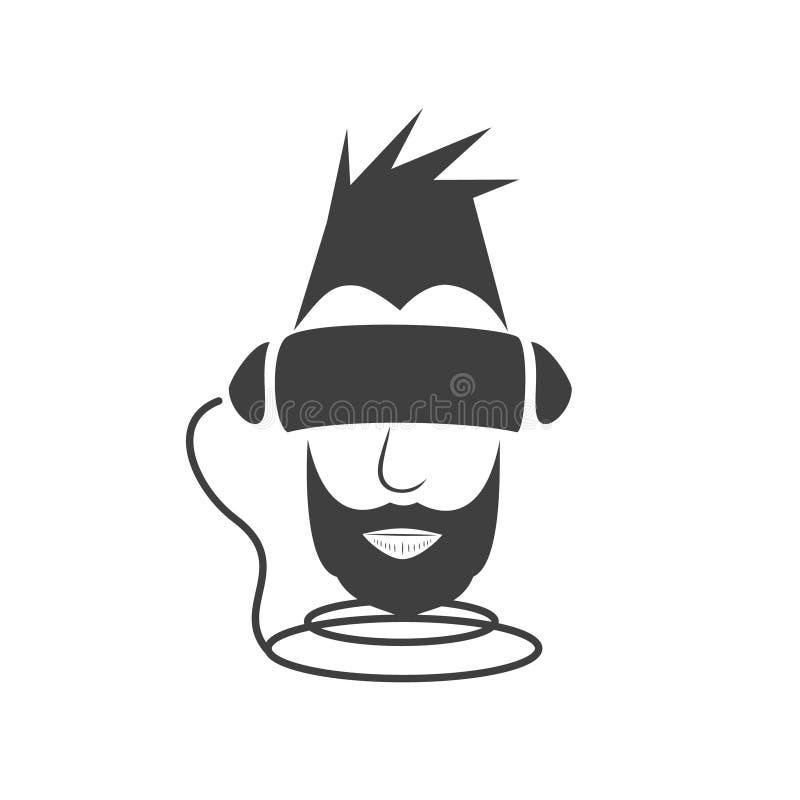Un type avec une barbe noire immergée dans la réalité virtuelle du cybe image libre de droits