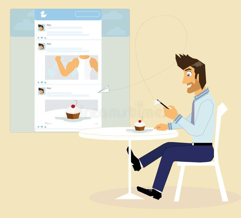 Un type dans la mise en réseau sociale illustration stock