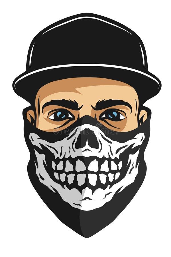 Un type dans un bandana avec un modèle de crâne illustration libre de droits