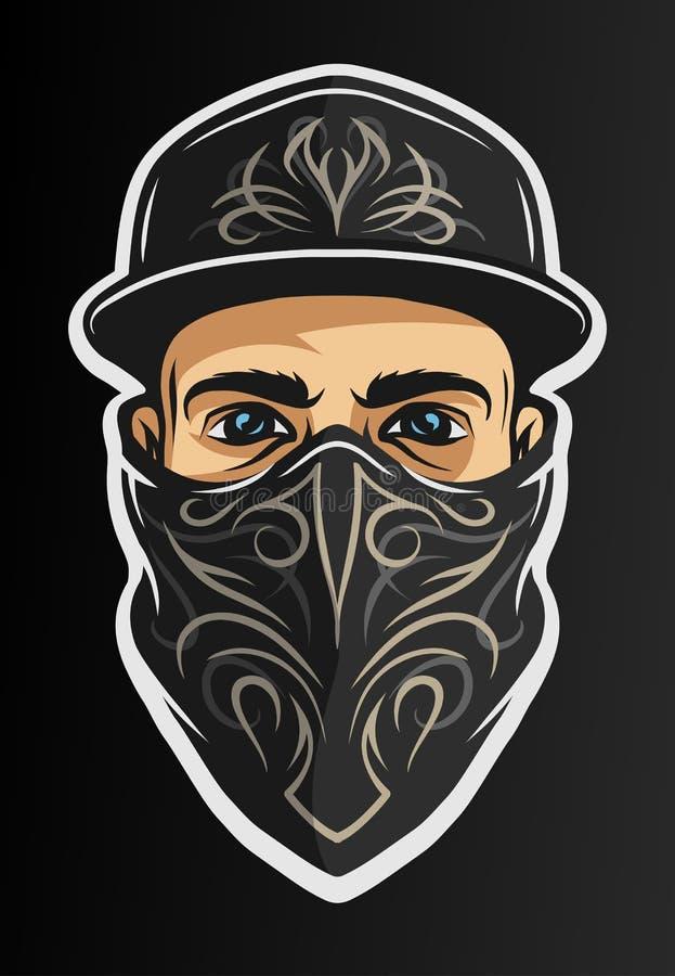 Un type dans une casquette de baseball, et un bandana illustration de vecteur