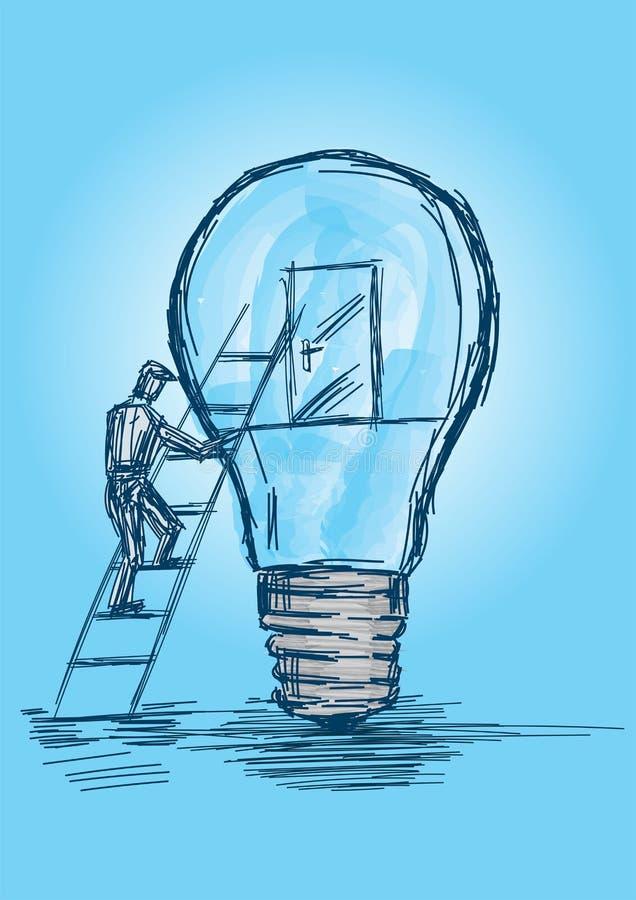 Un type grimpant dans une ampoule pour déverrouiller l'image / Vecteur de porte illustration libre de droits