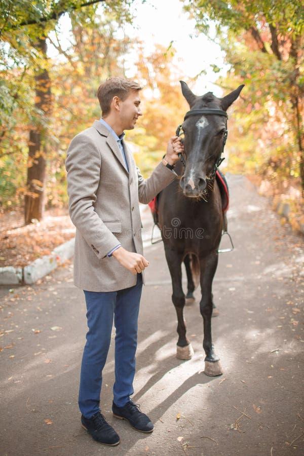 Un type marche avec un cheval en parc en automne photo stock