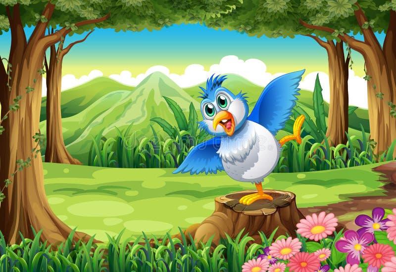 Un uccello blu sopra il ceppo alla foresta illustrazione di stock