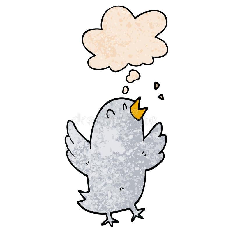 Un uccello creativo che canta e pensa a una bolla in stile 'grunge texture' royalty illustrazione gratis