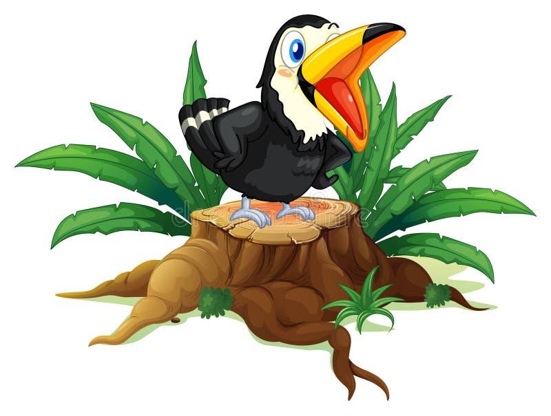 Un uccello nero sopra il legno illustrazione vettoriale