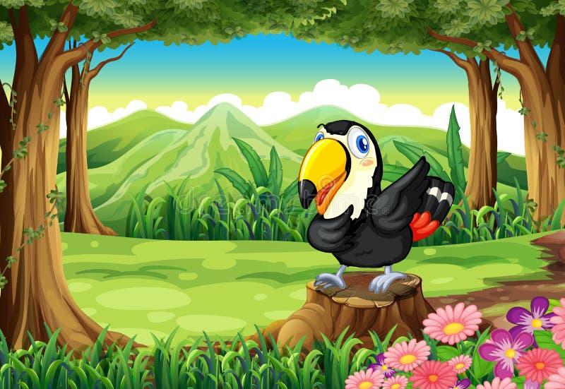 Un uccello sopra il ceppo vicino ai fiori alla foresta illustrazione vettoriale