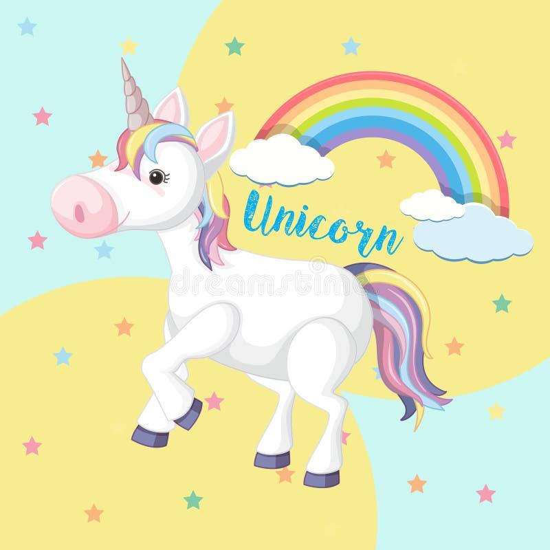 Un unicorno Colourful su fondo sveglio royalty illustrazione gratis