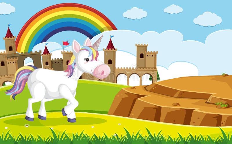 Un unicorno davanti al castello illustrazione vettoriale