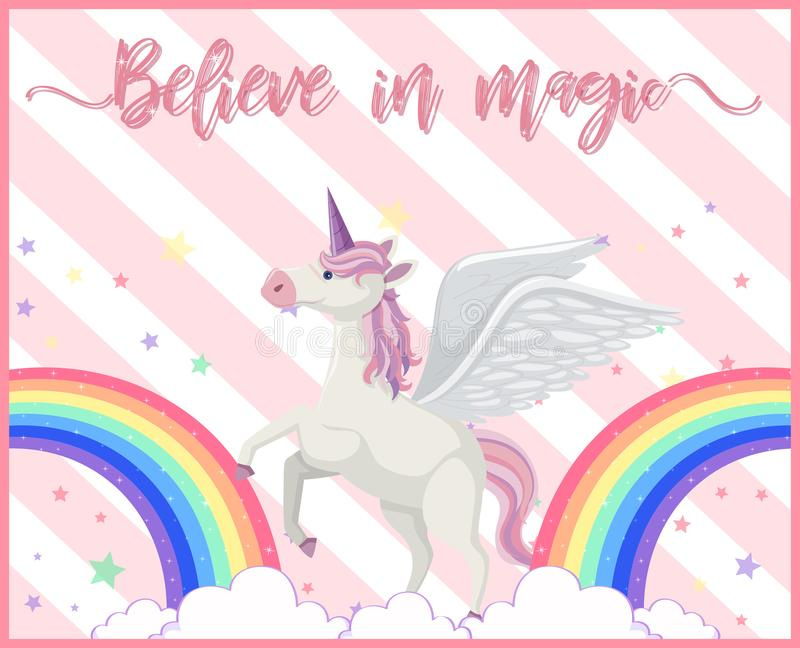 Un unicorno sveglio con l'arcobaleno royalty illustrazione gratis