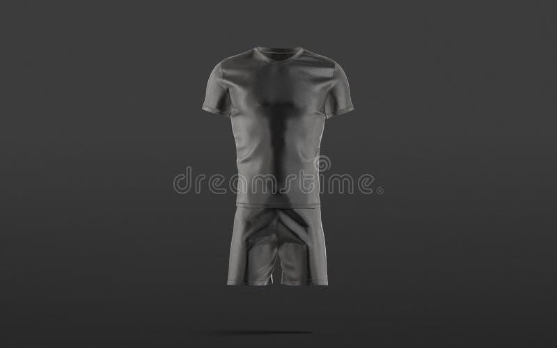 Un uniforme de soccer noir vierge avec une petite maquette de t-shirt, fond sombre illustration de vecteur