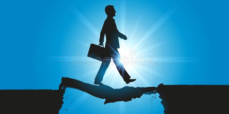 Un uomo ambizioso abusa il suo potere, per il suo successo personale, camminando su  illustrazione vettoriale