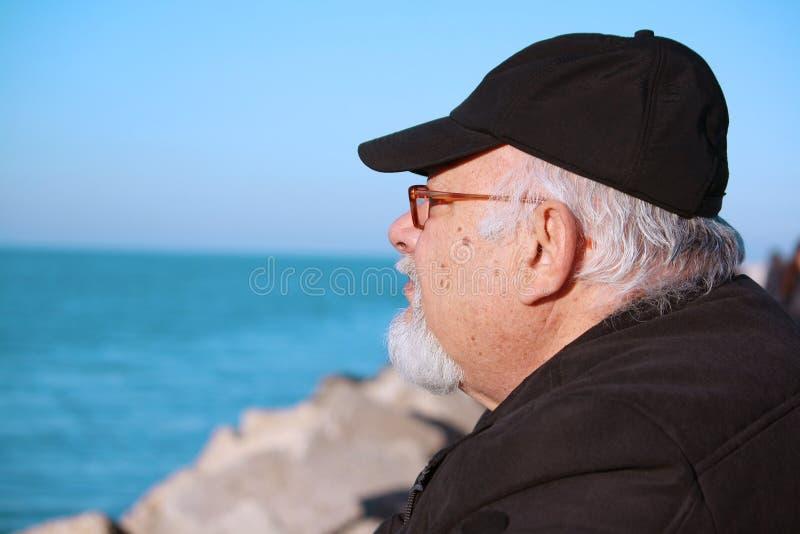 Un Uomo Anziano Con Una Barba Fotografia Stock Libera da Diritti