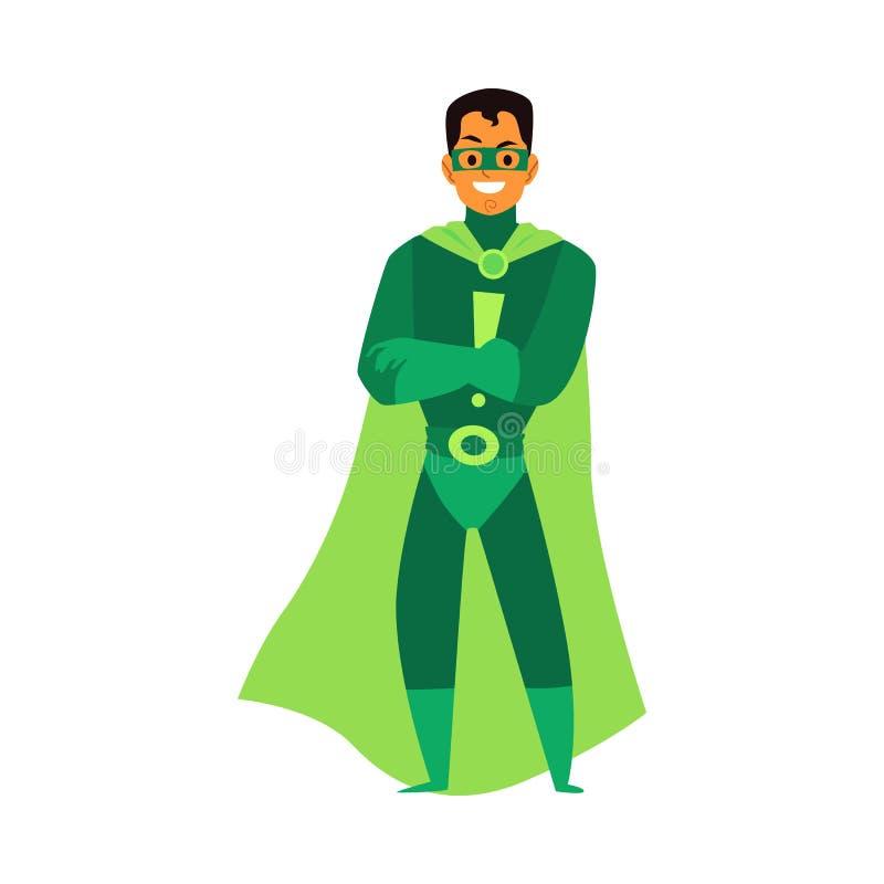 Un uomo, un uomo, un asiatico o un supereroe latino, in costume verde, una maschera e un mantello illustrazione di stock
