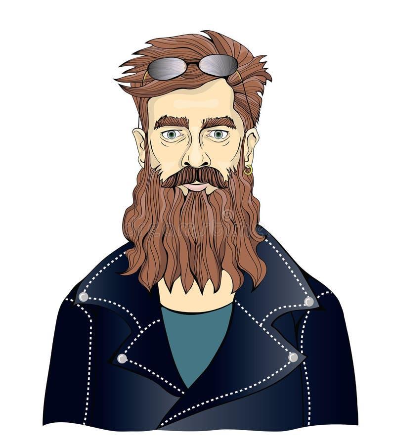 Un uomo barbuto in bomber neri Motociclista di Moto o fan di musica rock Illustrazione del ritratto di vettore, isolata su bianco illustrazione di stock