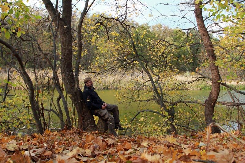 Un uomo barbuto che si siede su un ceppo di albero nella foresta di autunno immagini stock libere da diritti