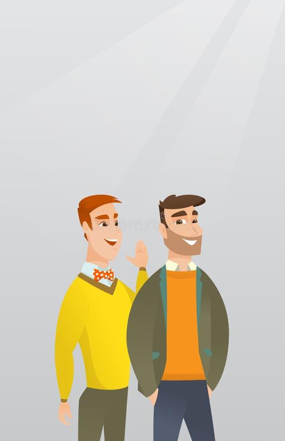 Un uomo che bisbiglia ad un amico un segreto royalty illustrazione gratis