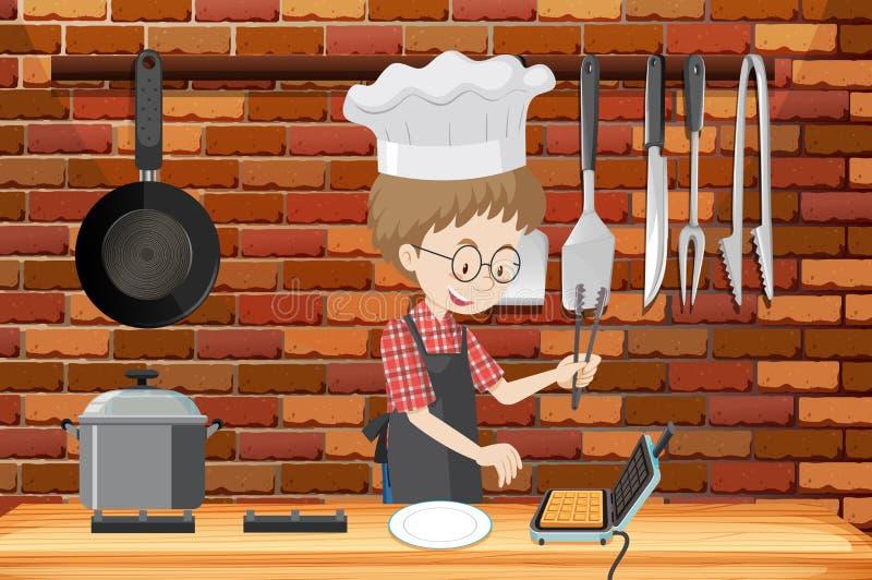 Un uomo che cucina cialda in cucina illustrazione di stock