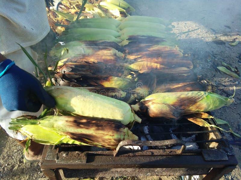 Un uomo che cucina i semi su una griglia in fumo fotografie stock libere da diritti