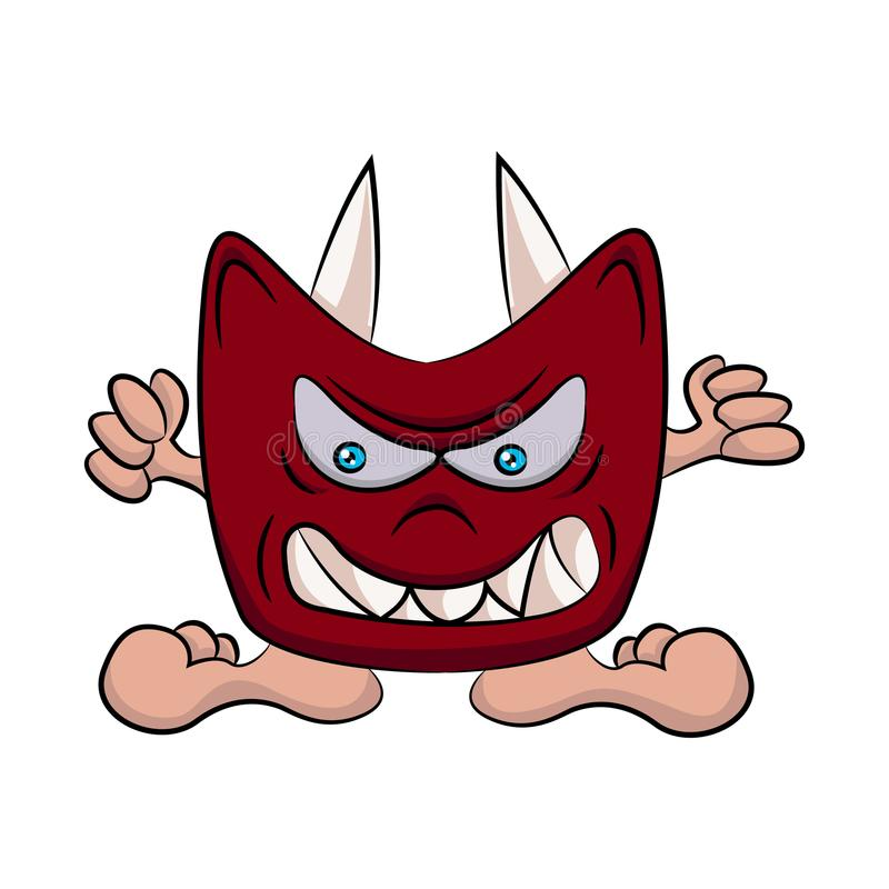 Un uomo che indossa una maschera del diavolo Illustrazione piana di vettore illustrazione vettoriale