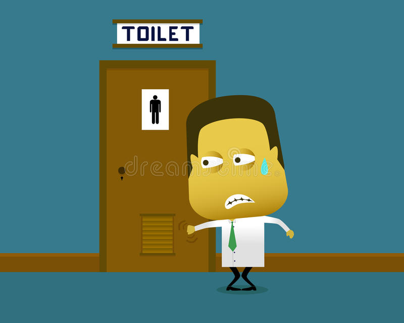 Un uomo che muore per una pipi, ma la toilette è pieni illustrazione vettoriale