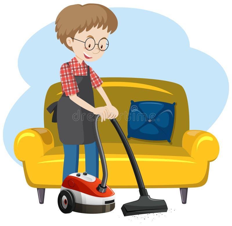Un uomo che pulisce la Camera royalty illustrazione gratis