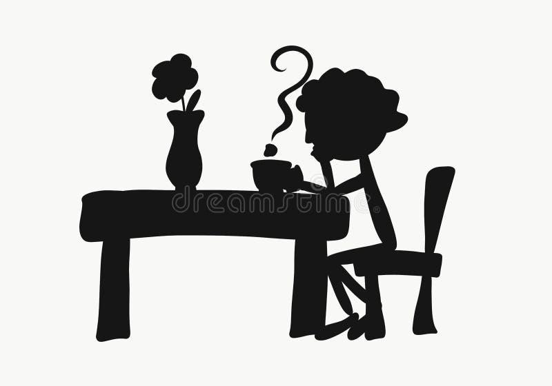 Un uomo che si siede ad una tavola nell'anticipazione royalty illustrazione gratis