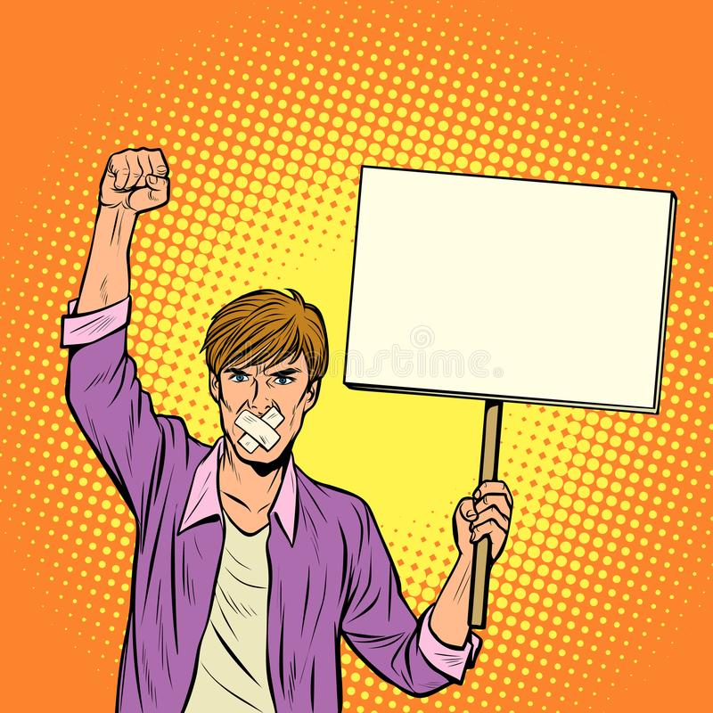 Un uomo con un bavaglio protesta contro censura, per libertà di SPE illustrazione di stock