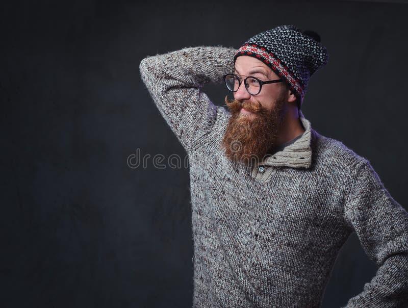 Un uomo con la barba rossa fotografie stock libere da diritti