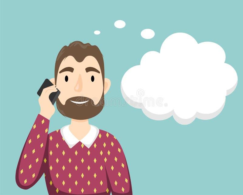 Un uomo con una barba in un maglione sopra la sua camicia che parla su un telefono cellulare Bolla di sogno illustrazione di stock