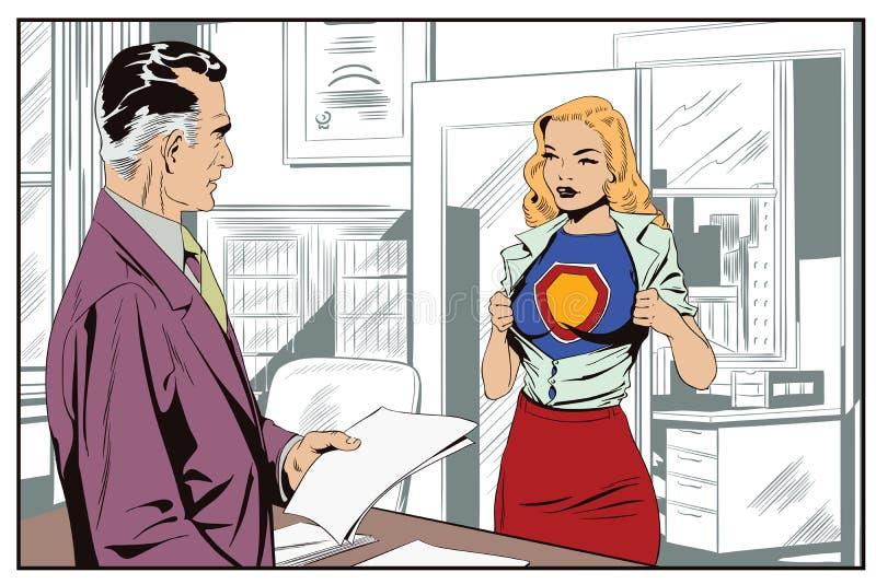 Un uomo d'affari dà un'assegnazione ad una ragazza in un supereroe illustrazione vettoriale