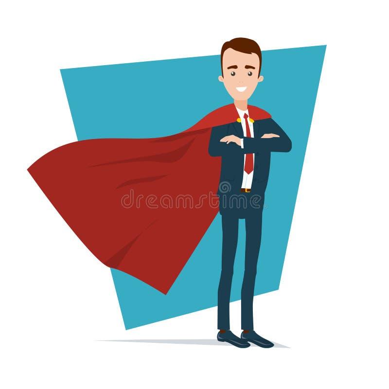 Un uomo d'affari del supereroe sta in una posa sicura Le mani sono impilate sul mantello rosso del petto A si sviluppa nel vento illustrazione vettoriale